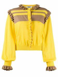 MSGM ruffle trim knit jumper - Yellow