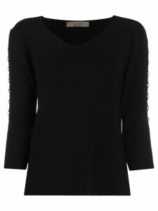 D.Exterior geometric peek-a-boo panelled jumper - Black