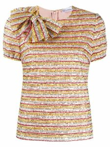 RedValentino embroidered striped blouse - NEUTRALS