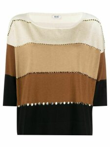 LIU JO rhinestone-embellished panelled jumper - NEUTRALS