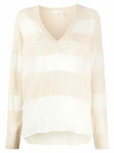 Chloé silk inserts relaxed jumper - NEUTRALS