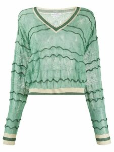 Ballantyne v-neck fine knit jumper - Green
