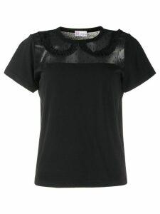 RedValentino ruffled collar sheer-panel top - Black