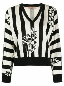 Twin-Set embellished floral stripe knit jumper - Black