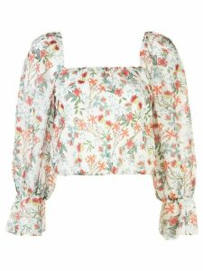 Alice+Olivia square neck floral pattern blouse - White