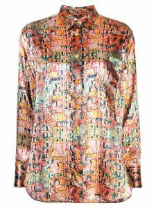 Sies Marjan Sander crocodile-print satin shirt - PINK