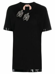 Nº21 embellished bird patch T-shirt - Black