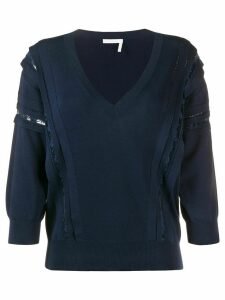 Chloé lace-insert jumper - Blue