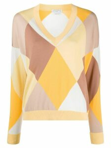 Ballantyne v-neck argyle check jumper - Yellow