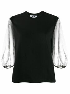 MSGM sheer sleeve blouse - Black