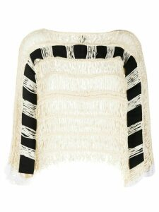 Pierantoniogaspari woven knit fringe top - NEUTRALS