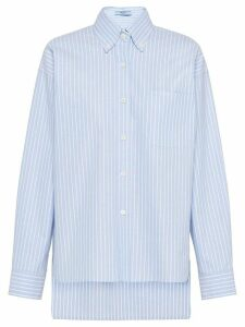 Prada striped high low hem shirt - Blue