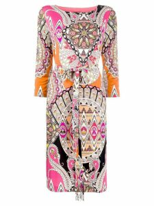 Etro paisley print midi dress - ORANGE