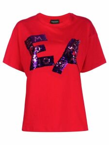 Emporio Armani sequined logo T-shirt - Red