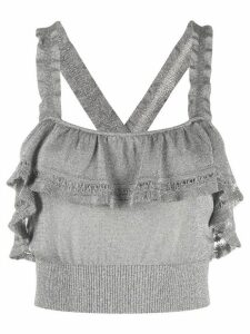 M Missoni ruffle crop top - SILVER