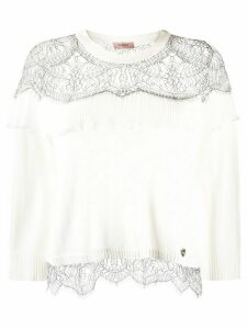 Twin-Set lace-embellished crew-neck jumper - White