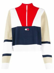 Tommy Jeans colour block zipped jumper - White