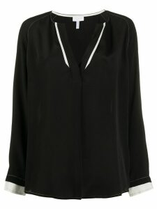 Escada Sport contrast-trim v-neck blouse - Black