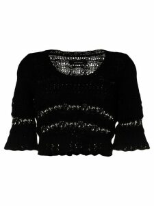 Isabel Marant Flavia ruffled crochet-knit jumper - Black