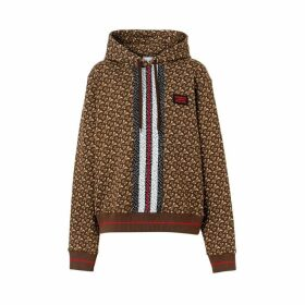Burberry Monogram Stripe Print Cotton Oversized Hoodie