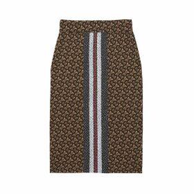 Burberry Monogram Stripe Print Stretch Jersey Pencil Skirt