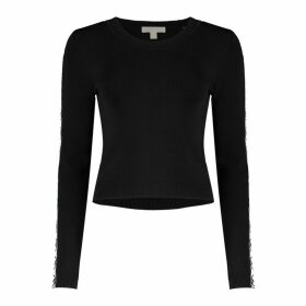 MICHAEL Michael Kors Logo Tape Viscose Cropped Sweater