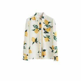 Chinti & Parker White Lemon Print Silk Shirt