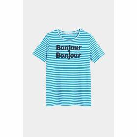 Chinti & Parker Blue Striped Bonjour Bonjour Jersey T-shirt