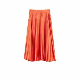 Chinti & Parker Orange Pleated Crepe De Chine Midi Skirt