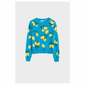 Chinti & Parker Blue Allover Lemon Cashmere Sweater