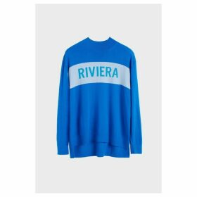 Chinti & Parker Royal-blue Riviera Cashmere Polo Neck Sweater