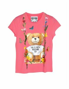 Moschino Designer T-Shirts & Tops, Floral Teddy Bear Print Pink Viscose Women's T-Shirt