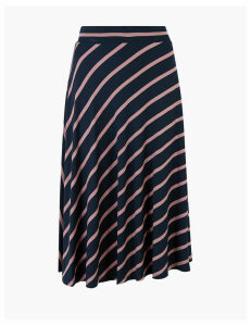 M&S Collection Jersey Striped Circle Fit & Flare Midi Skirt
