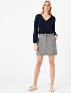 M&S Collection Denim Utility Mini A-Line Skirt