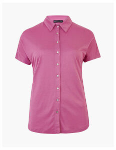M&S Collection Jersey Straight Fit Short Sleeve Shirt