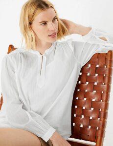M&S Collection Pure Cotton High Neck Longline Blouse