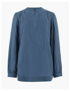 M&S Collection Pure Cotton High Neck Longline Blouse
