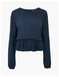 M&S Collection Textured Waisted Long Sleeve Blouse