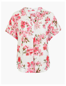 M&S Collection Pure Linen Floral Relaxed Popover Blouse