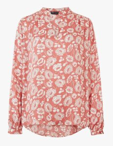 M&S Collection Satin Floral V-Neck Relaxed Popover Blouse