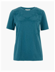 Per Una Pure Cotton Embroidered T-Shirt