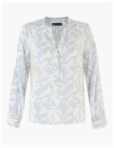 M&S Collection Printed V-Neck Long Sleeve Blouse