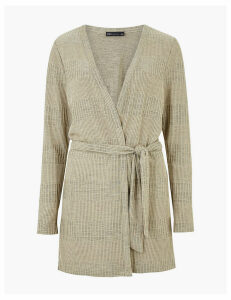 M&S Collection Textured Regular Fit Longline Cardigan