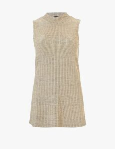 M&S Collection Textured High Neck Longline Top