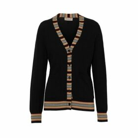 Burberry Icon Stripe Detail Merino Wool Cardigan