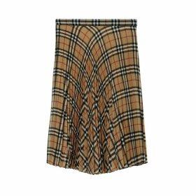 Burberry Vintage Check Chiffon Pleated Skirt