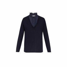 Gerard Darel Snow Sweater With Ruffled Panel