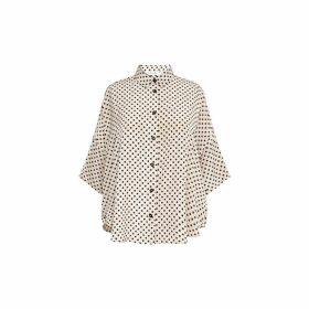 Gerard Darel Short Sleeve Polka Dot Shirt