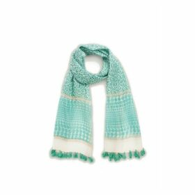 Gerard Darel Printed Shawl In Cotton Silk And Lurex