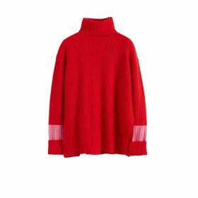 Chinti & Parker Red Rib Merino Wool Rollneck Sweater